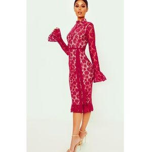 PrettyLittleThing Burgundy Lace Midi Dress